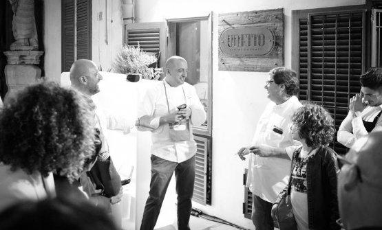 Gli chef alla serata panini&champagne dell'Unetto: Lo Coco, Cuttaia e Graziano(le foto dell'evento sono di Salvo Mancuso)