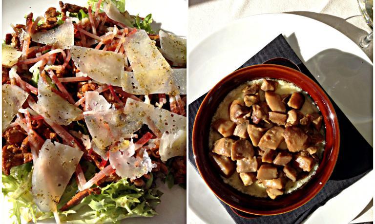 Un combo di piatti dell'Osteria de La Tana