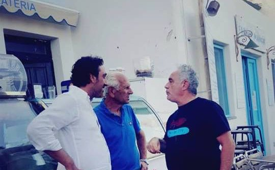 Adria and Luca Caruso with Alfredo Olivieri, author of the best granita on the island of Salina