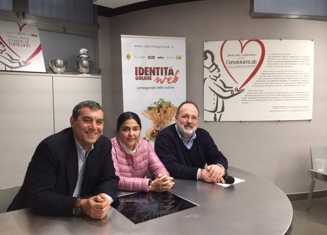 Gli ideatori del corso di Food Event Manager: da sinistra,Claudio Ceroni di Magenta Bureau, Paola Jovinelli diConviviumLab-Arte del Convivio e Paolo Marchi di Identità Golose