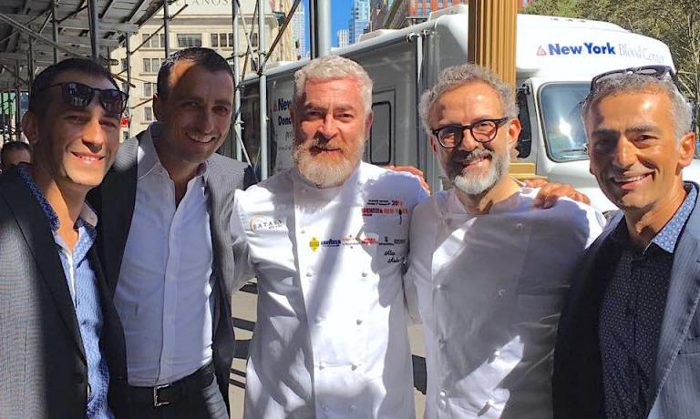 Brothers Campilongo and their partner Michael Oliverio with Alex Atala and Massimo Bottura at Identità New York 2016