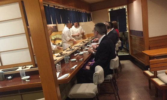 Jiro's sushi counter. It seats 10 people