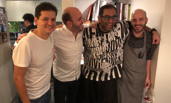 Left to right, Jorge Vallejo (Quintonil, Mexico, in Bangkok for a 4-handed dinner with Gaggan), Thomas Sühring, Gaggan Anand and Mathias Sühring