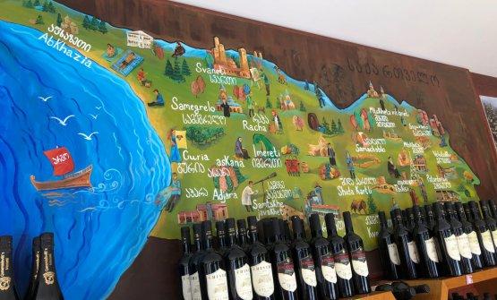 Una mappa delle aree più vocate contenuta nell'Akasheni Wine Resort, resort del vino nel cuore del Kakheti