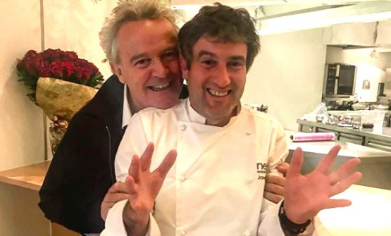 With Alain Passard, one of the many chefs who visited Nerua on the occasion of the 50Best