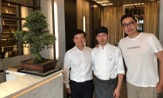 Il restaurant manager Federico Zhu,chef Lin Yin Lue il patron Claudio Liu