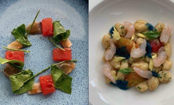 Aguglia marinata, anguria e rucola eGnocco, gambero affumicato e semi di pomodoro
