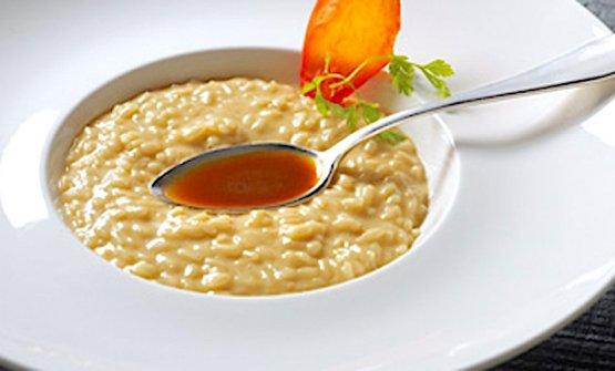 Riso mantecato con cipolla tostata, ristretto di sugo d'arrosto caramellato allo zucchero di canna
