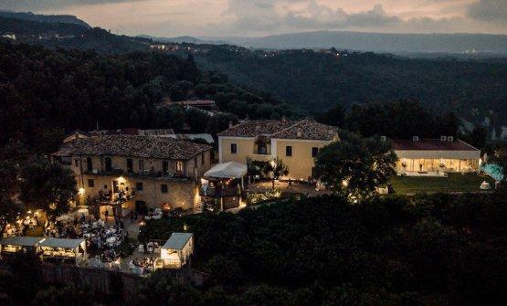 Villa Rossi dall'alto, all'imbrunire