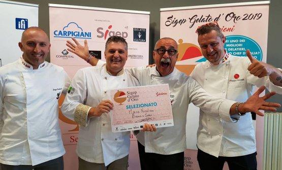 Sergio Dondoli, secondo da destra, pronto per giudicarei gelatieri in concorso alSigep Gelato d'Oro 2019, 19-21 gennaio 2019, preliminare dellaX Coppa del Mondo di Gelateria, in programma fra un anno