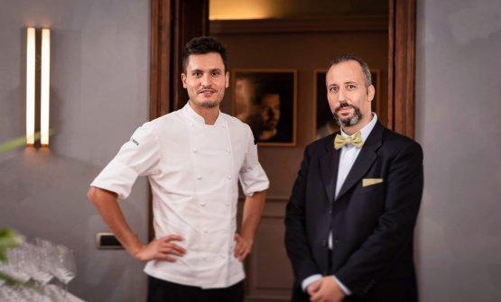 Lo chef Gabriele Boffa assieme al maître del ristorante Francesco Palumbo