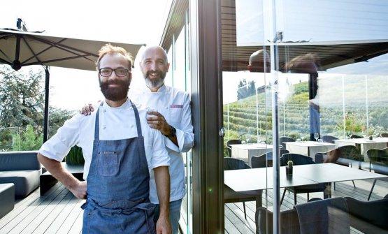 Andrea Ribaldone con il resident chef dell'Osteria Arborina Umberto Del Nobile