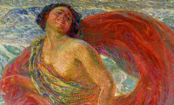 Plinio Nomellini e Isadora Duncan. Gioia (Gioia tirrena), 1914 (dettaglio) - Quadreria Villa San Martino Collezione Silvio Berlusconi. È in mostra al Mart