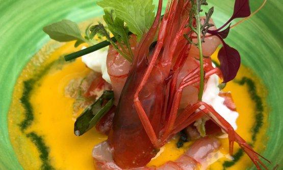 Panzanella, gazpacho, burrata, gamberi rossi