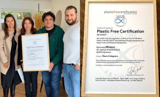 Plastic Free Certification: il primo marchio al mondo (nato da una start up abruzzese) che attesta l'eliminazione della plastica monouso, la minimizzazione degli sprechi e dei rifiuti prodotti, la corretta raccolta differenziata, la sostenibilità ambientale dell'intero processo produttivo. Mirazur è la prima azienda al mondo a certificarsi con questo marchio
