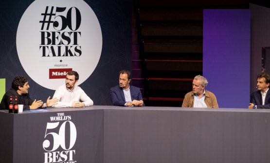 The all-male panel at the 50Best Talks