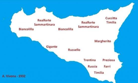 Una cartina basata su un trattato del 1932che illustrala biodiversità siciliana e le aree di coltivazione dei suoi grani antichi