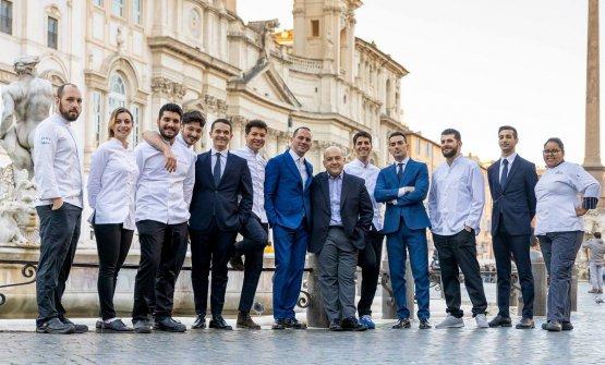 Il team del Pipero, il ristorante romano guidato d