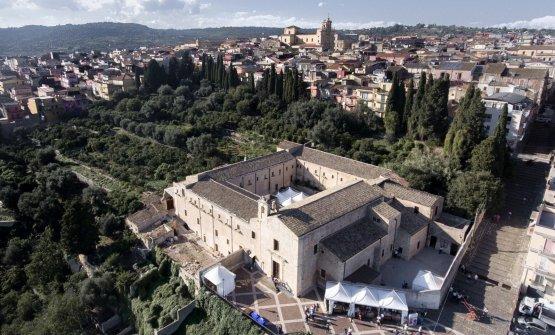 Veduta aerea del Convento dei Cappuccini di Sortino, e della sua piazza, dove si è svolta l'edizione 2018 di Pizza! Food Festival