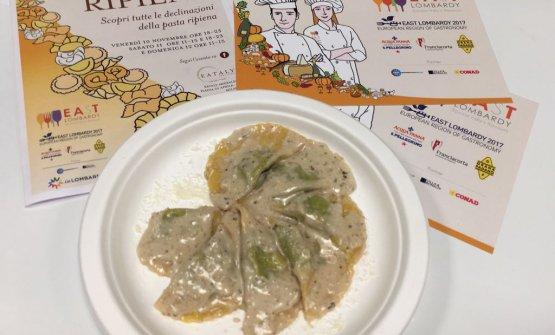 Paco Magri-Dordoni, Cremona: Tortelli di Tognazzi con ripieno di tarassaco, ricotta e mascarpone con salsa noci e maggiorana