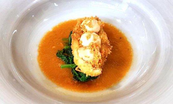 Triglia con carota alla soia, senape e foie gras