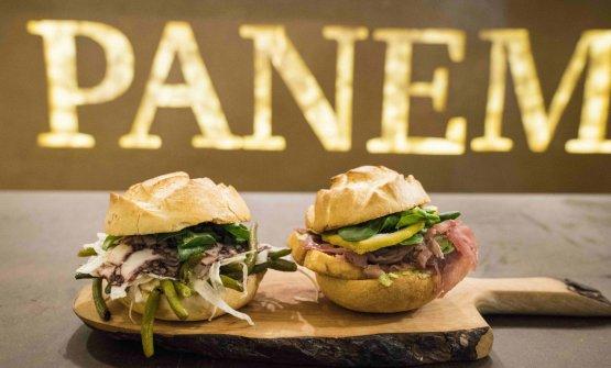 Due dei venti panini che compongono la proposta di Panem. Che è anche bottega, da cui acquistare tutti gli ingredienti usati nelle farciture