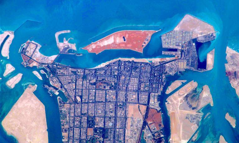 Una mappa aerea di Abu Dhabi