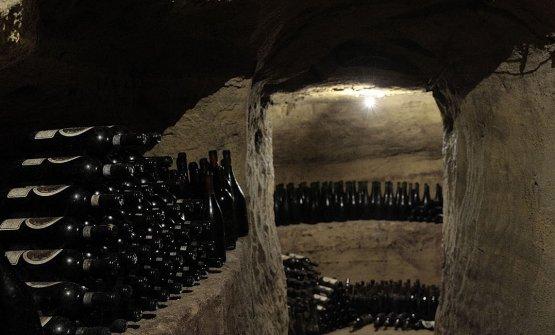Le bottiglie conservate nella cantina storica di Castagnole Monferrato