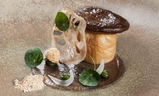 Funghi cardoncelli, radice di loto e pesto di menta
