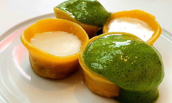 Piemonte: Bollito concren e salsa verde, in un tortello
