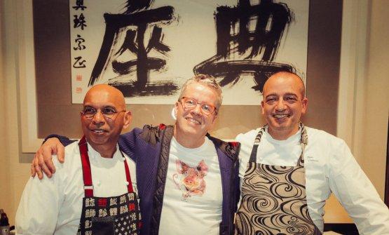 Wicky Priyan con Ernst Knam e Pino Cuttaia