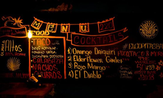 The big blackboard at El Copitas