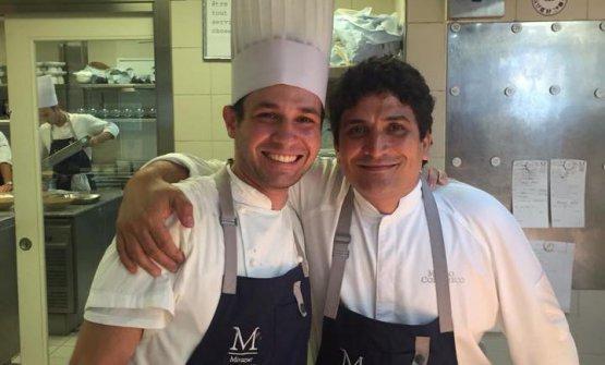 Maicol Izzo qualche anno fa, con Mauro Colagreco