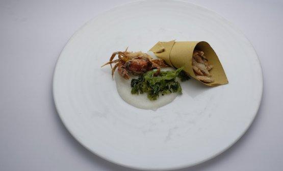 Fritto di moleca e gambarella, polenta bianca, lattuga di maredi Maria Grazia Soncini