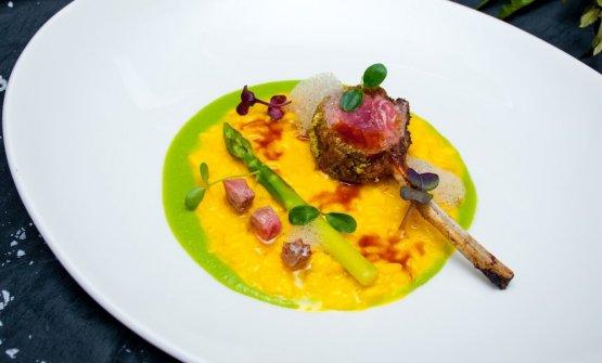 Risotto, saffron, lamb and asparagus