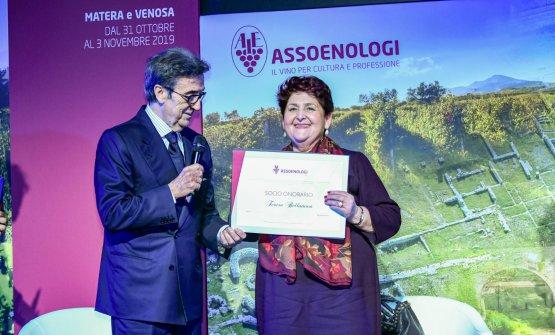 Riccardo Cotarella con il ministro Teresa Bellanova