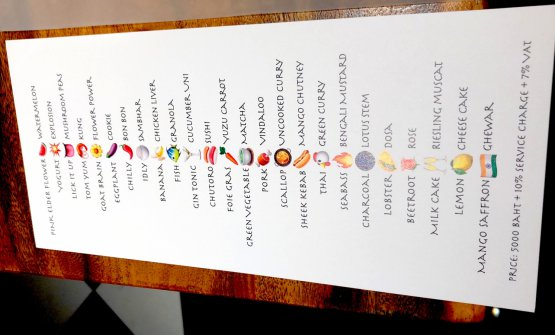 The menu at restaurant Gaggan. Details in the next episode