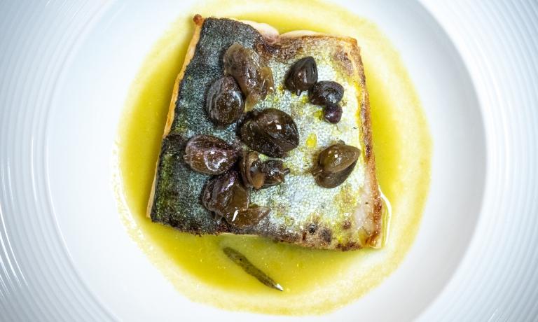 Unpiatto diMartina Caruso:Lampuga, straccetti di bufala, finocchietto di mare in conserva piastrato, capperi di Salina canditi, zuppetta di olive verdi e pomodoro