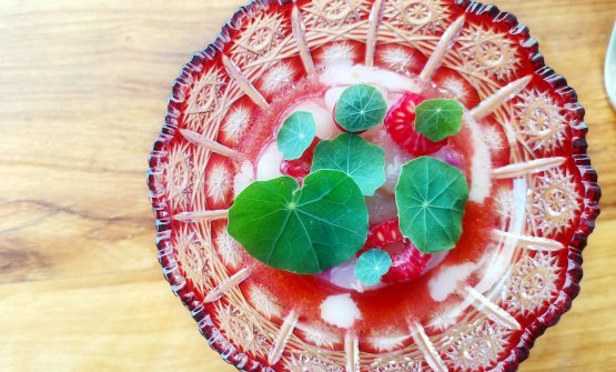 Gamberoni di Sanremo, lamponi e nasturzio. L'acidità dei lamponi, la dolcezza del gambero e il gusto leggermente piccante delle foglie di nasturzio. Verde e rosso, poi, sono colori complementari. Perfection