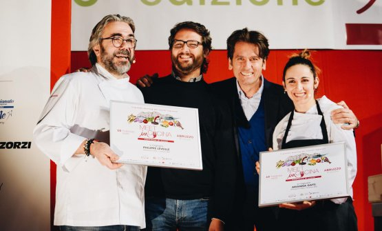 Léveillé e Arianna Gatti al recente Meet in Cucina Abruzzo, con il nostro Niccolò Vecchia e l'organizzatore Massimo Di Cintio, i due al centro