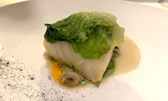 Cod with lettuce and 'nduja