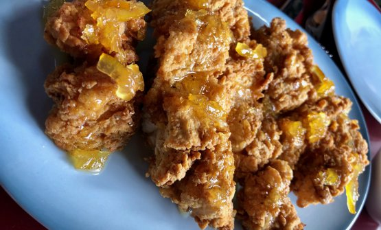 Fried chicken with yuzu honey, Aloette