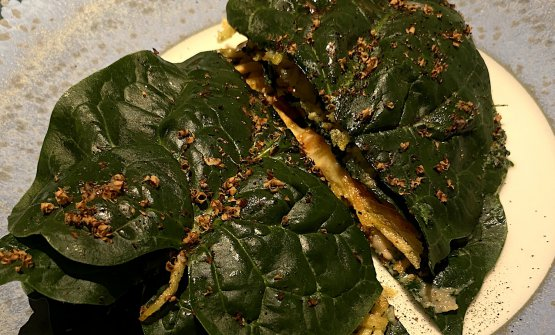 Spinach roll with ricotta and smoked baccalà