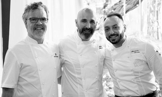 Gordon e Ribaldone, con il resident chef di Identità Golose Milano Alessandro Rinaldi