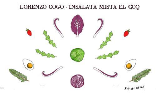 Radicchio, verza, cappuccio, cavolo cappuccio, pomodoro ciliegino, dashi, mainonese... non manca nulla nell'Insalata mista di Lorenzo Cogo, chef d'El Coq di Marano Vicentino (Vicenza),�+39.0445.1886367