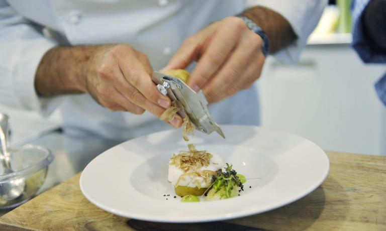 Salted codfish with soft potatoes and white truffle, a traditional dish presented by Ugo Alciati