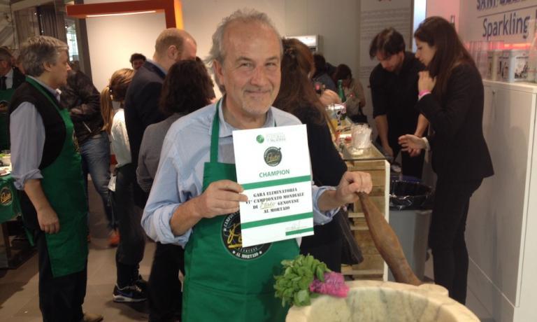 Salvatore Corazza, vincitore delle eliminatorie del Pesto World's Championship di questa mattina a Eataly Roma