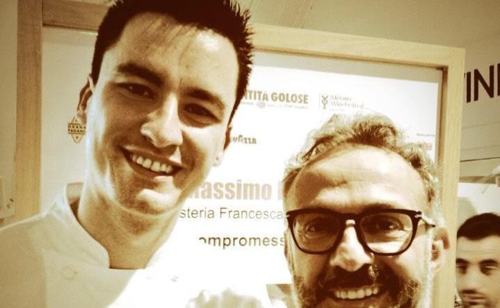 Enrico Panero insieme a Massimo Bottura. Il giovane chef piemontese del ristorante Da Vinci di Eataly Firenze sar� tra i protagonisti di Identit� Piccanti, all'interno di Identit� Milano