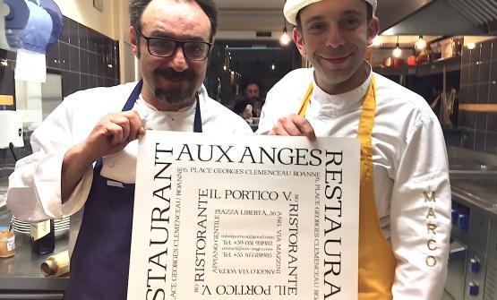 Paolo Lopriore e Marco Viganò al termine della cena di debutto, sabato 25 febbraio al Portico di Appiano Gentile (Como), della Nuova concezione ristorativa