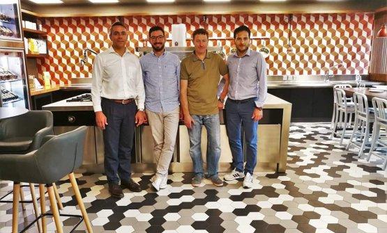 Lo chef Antonio Biafora in azienda, assieme a Enrico Berto